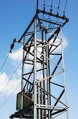 stock photo of transformer  - Old electric pole with the transformer - JPG