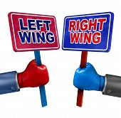 foto of debate  - Left and right politics concept as two election candidates representing conservative and liberal values as democrat and republican debate using signs and boxing gloves - JPG
