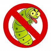 stock photo of caterpillar cartoon  - Anti pest sign with a funny cartoon caterpillar - JPG