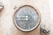 stock photo of manometer  - Metal mechanical device - JPG