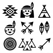stock photo of wigwams  - Vector icons set of native Americans isolated on white - JPG