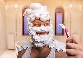 stock photo of shaved head  - Head shaving for men - JPG