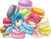 picture of nymph  - Cute cartoon macaron nymphs the goddess of candy with pile of colorful macarons in the background create by vector - JPG