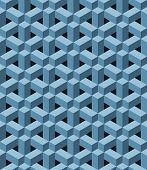 foto of three dimensional shape  - Seamless pattern with blue three dimensional shapes - JPG