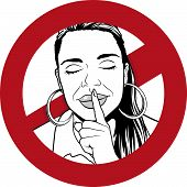 pic of silence  - Great Illustration of a Warning Sign with Girl putting her forefinger to her lips to indicate silence is required - JPG