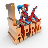 foto of fool  - 3D rendering clipart celebrating april fool - JPG