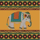 foto of indian elephant  - Indian elephant on yellow background with pattern - JPG