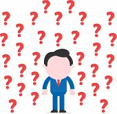 foto of faceless  - Vector faceless cartoon confused businessman hands on sides surrounded by question marks - JPG