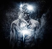 image of  art  - Man with conceptual spiritual body art - JPG