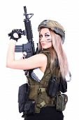 pic of assault-rifle  - Woman in a military camouflage holding the assault rifle isolated over white background - JPG