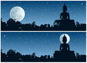 stock photo of jungle  - Buddha statue in the jungle at night - JPG