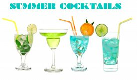stock photo of mint-green  - Green cocktails Blue Hawaiian Cosmopolitan Mojito tropical cocktail drinks with alcohol vodka in martini glasses isolated on a white background - JPG