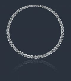image of collier  - Magnificent round diamonds necklace on a colored background with shadow  - JPG