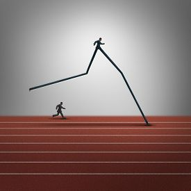 image of domination  - Business skills advantage concept and competitive dominance symbol as two running businessmen with oneperson with very long legs winning the race as a success metaphor for career superiority - JPG