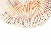 picture of fifties  - Multiple fifty euro bank notes arranged like a fan - JPG