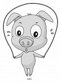 picture of jump rope  - Cute little pig jumping on the rope - JPG
