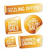 Summer sizzling offers, savings and sale stickers set poster