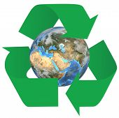 stock photo of eastern hemisphere  - 3d render of the earth inside green recycle symbol arrows - JPG