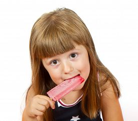 pic of lolli  - Little girl eating colorful ice lolly on white - JPG