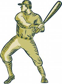 foto of bat  - Etching engraving handmade style illustration of an american baseball player batter hitter holding bat batting viewed side on set on isolated white background - JPG