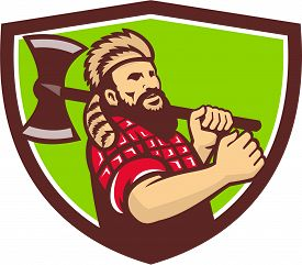 stock photo of arborist  - Illustration of lumberjack arborist tree surgeon carrying axe on shoulder set inside shield crest on isolated background done in retro style - JPG