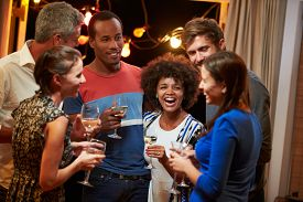 pic of social housing  - Group of adult friends drinking at a house party - JPG