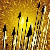 Vector spears with yellow shine background
