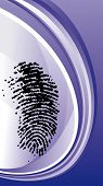 Fingerprint vector with blue wave background