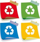 Vector set of Recycle note icons