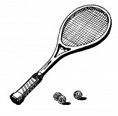 foto of flogging  - draw of a tennis racket with two tennis balls - JPG