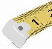 close up of one and two inches on measuring tape - vector