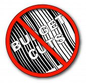 no more budget cuts with barcode - vector