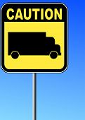 yellow caution sign with transport truck against blue sky background - vector