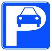 blue and white car parking sign - illustration
