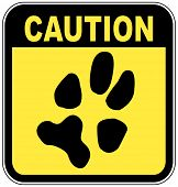 yellow and black caution sign with paw print - no pets