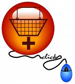 shopping basket with plus sign connected to computer mouse - add to cart