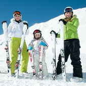 Happy family in ski resort