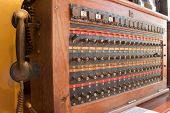 Antique Vintage Telephone Switch Board, Telecommunication Wood Box. Old Telecommunication Concept. poster
