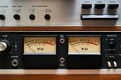 Close-up Vu Meters On Analog Tape Deck