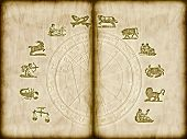 astrological symbols and horoscope over old grunge, grainy sepia book