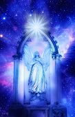 archangel standing in a gate over starry universe with a rays of light