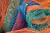 Nahaufnahme der Multi farbige Industrie-Fischernetze.