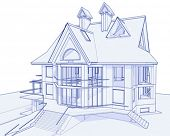 3d blueprint house: vector technical draw