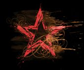 grunge watercolor red star on black background & floral pattern Elements on separate layers