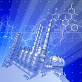 Chemical plant & blue technology background