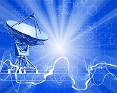 satellite dishes antenna (doppler radar), digital wave & blue technology background