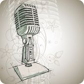 Vector Classic Microphone & floral background