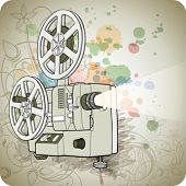 Retro Cinema projector & floral calligraphy ornament - a stylized orchid, color paint background