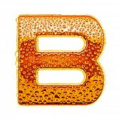 pic of letter b  - Orange gold alphabet symbol  - JPG