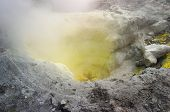 Sulfur fumarole in active volcanic crater